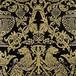 """Leopoldt in Gilded. Trim: Three tiered rosette 3 1/2"""" in Gilded; 2"""" scalloped bell fringe in Gilded. -  BrimarSilk Damasks, Damasks Black, Brimar"""