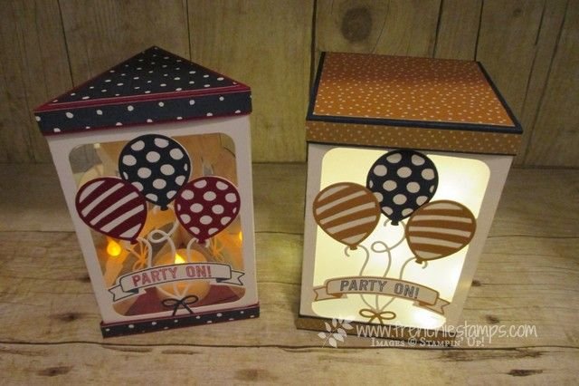 """Window Box, Triangle Box, Balloon Adventure, Balloon Pop Up Thinlits, Stampin""""up! Frenchiestamps live"""
