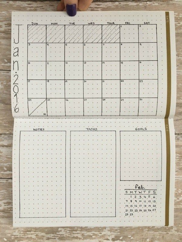 Vertical twist. One month grid on one page, tasks and goals on the other, but sideways.