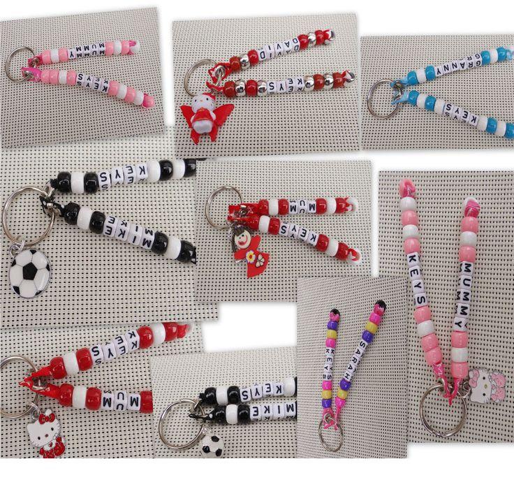 Personalised Handmade Keyrings from beads. School bag tags