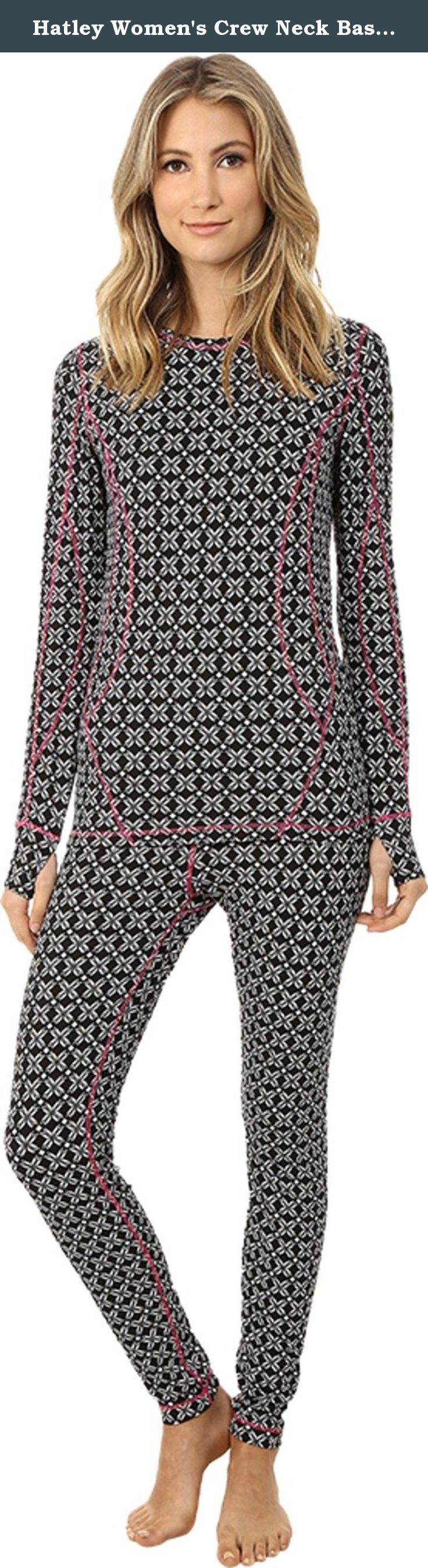 Hatley Women's Crew Neck Base Layer Set Black Snowflakes Pajama Set LG. Eye-catching snowflake print is featured on a snug-fit silhouette for easy layering. Long sleeve top features a crew neckline and banded cuffs with thumb holes for a secure fit. Regular rise pants feature a wide elastic waistband. 86% polyester, 14% spandex. Machine wash cold, tumble dry low.