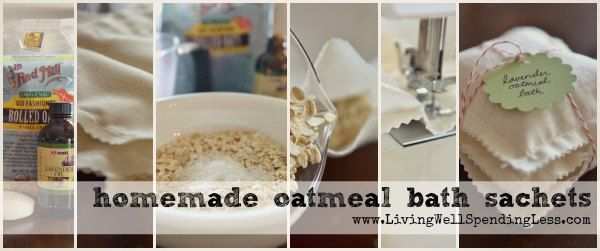Homemade Oatmeal Bath Sachets #homemade #spa #treatment