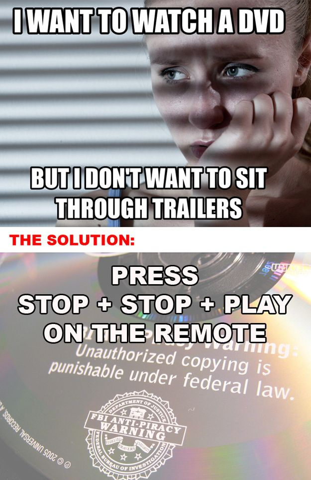 Solutions To Your Most Pressing First World Problems. If that doesn't work, try STOP + STOP + STOP + PLAY. <---- will have to try this out!