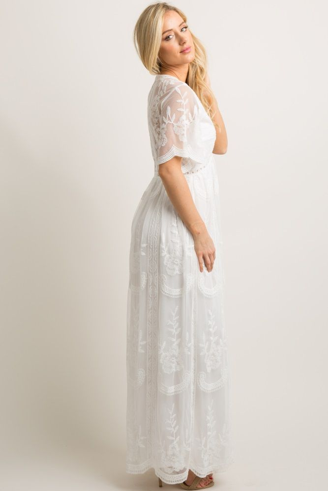 847ca2383670 White Lace Mesh Overlay Maxi Dress in 2019 | Santorini | White ...