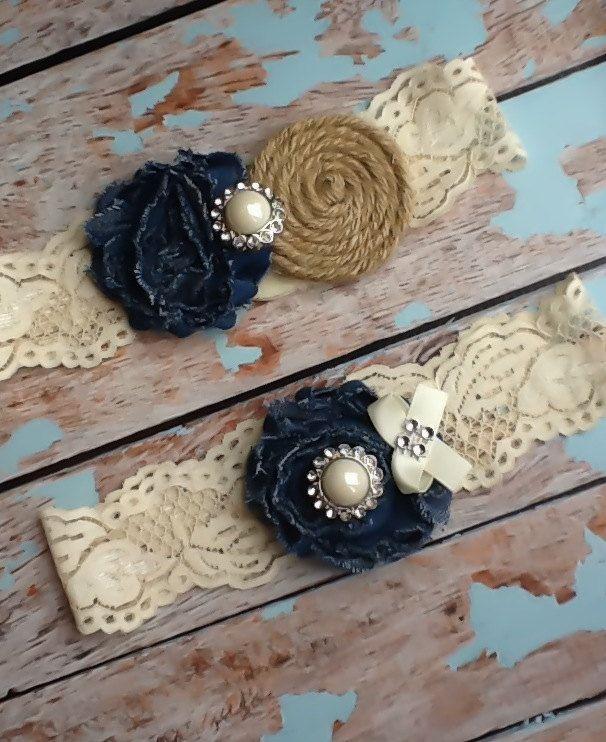 wedding garter  / burlap and denim COUNTRY GIRL WEDDING  /  bridal  garter / Something Blue / vintage inspired lace garter. $30.99, via Etsy.