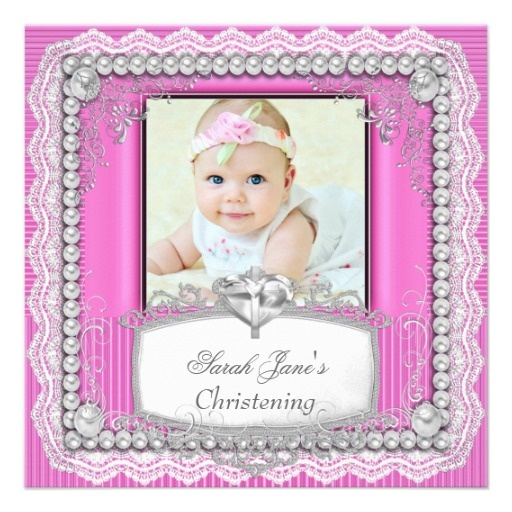 Baby Girl Pink Christening Baptism Cross Lace Personalized Invite