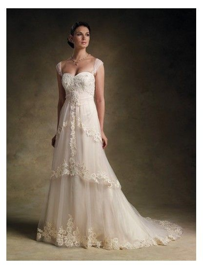 Chapel Train Sweetheart Empire Waist Long Satin Cap Sleeves Ivory Couture Wedding Dresses