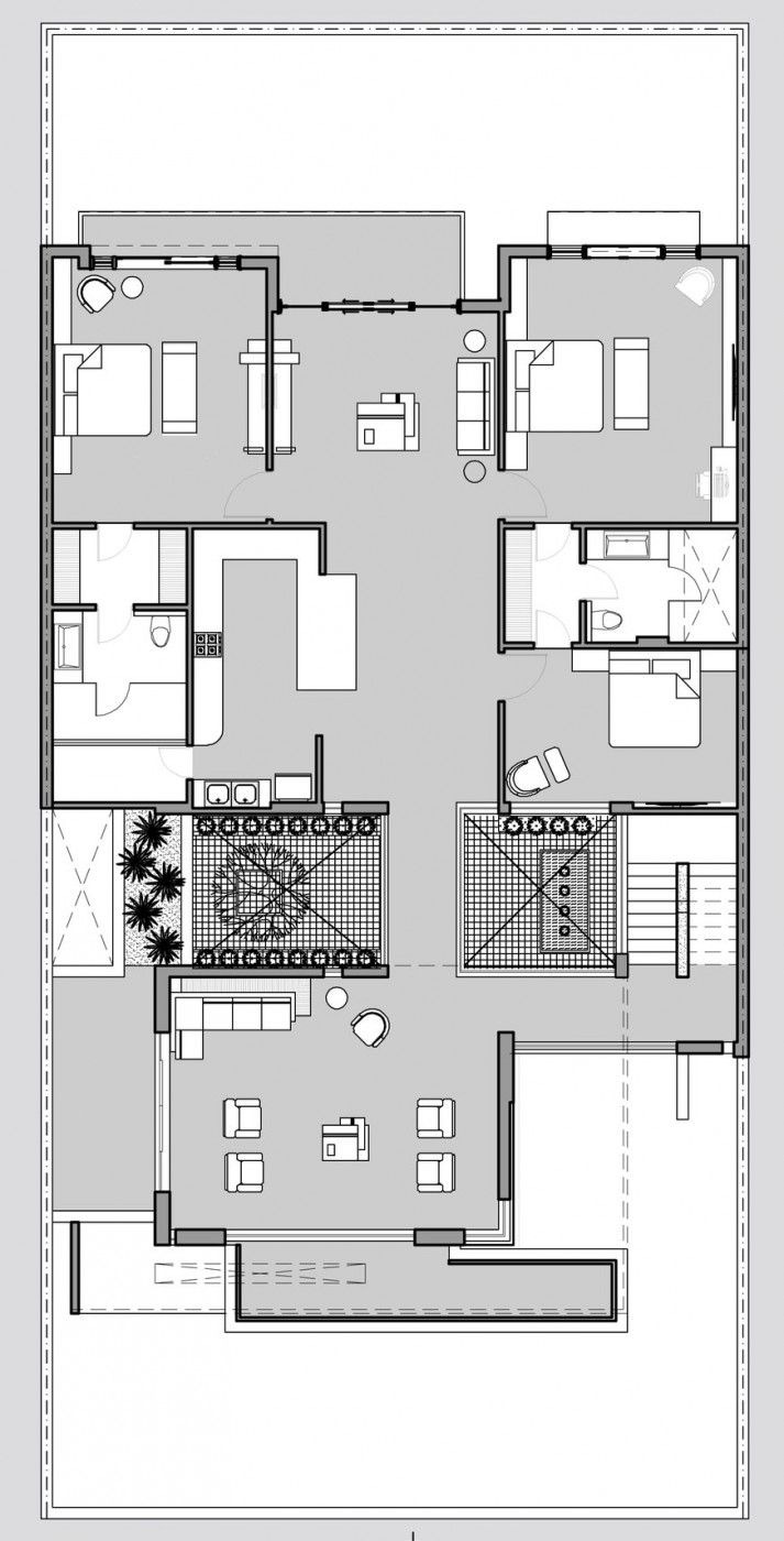 43 best villas images on pinterest architecture floor plans and twin courtyard house by charged voids
