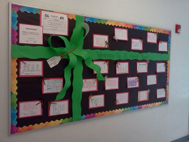 """Christmas/ December bulletin board idea: """"Wrapping Up A Great Year""""   Super simple- just a ribbon made with butcher paper :)"""