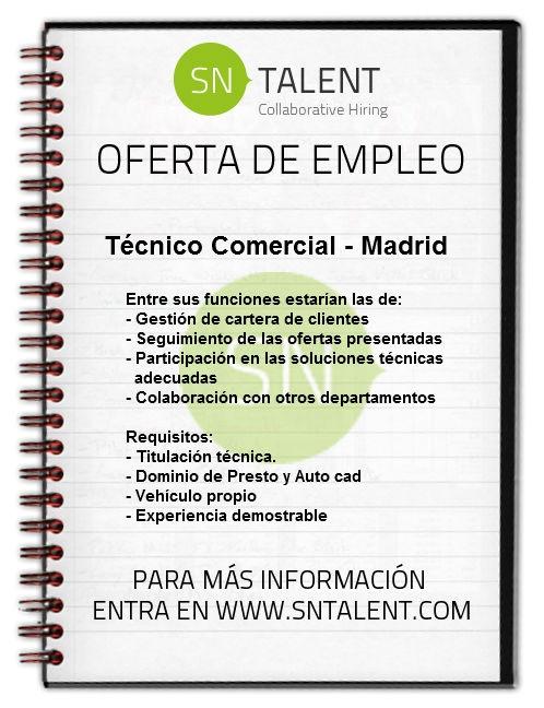 Técnico #Comercial en #Madrid