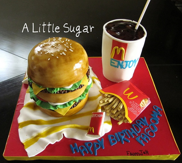 Mc Donalds Cake o.O   Hahah, making this for Abbie's birthday!