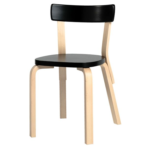 Aalto chair 69, black, by Alvar Aalto.