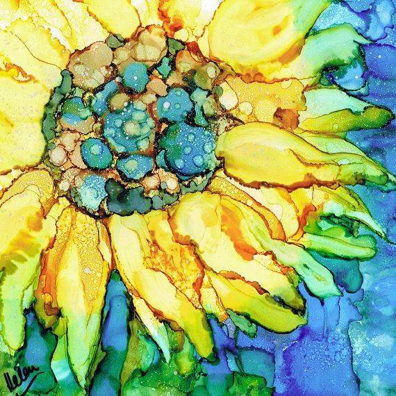 Sunflower Alcohol Ink Painting Art Print Gold Blue by MoonMothArts                                                                                                                                                                                 More