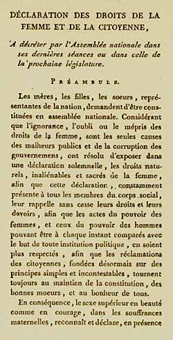 First page of Declaration of the Rights of Woman and the Female Citizen. Olympe de Gouges, guillotinee 1793
