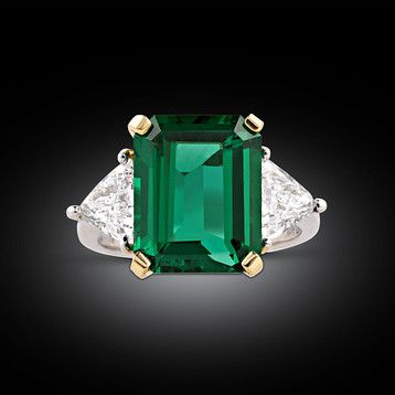 6.02-Carat Untreated Emerald and Diamond Ring ~ Colored Diamond