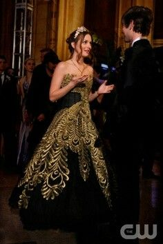 Blair Waldorf prom dress Gold and Black Dress