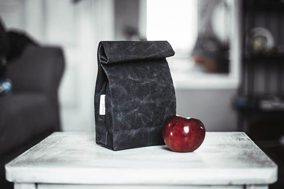 Hand waxed canvas lunch bag Food bag Black lunch bag Lunch