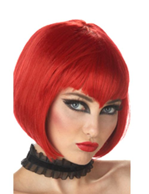 this is a dark red va va vamp wig that goes well with a vampire costume devil costume or a witch costume be sure to get a wig cap to control hair - Red Wigs For Halloween