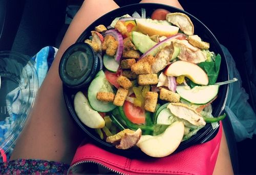 VeggieDelightwith: spinach, lettuce, bell pepper, banana pepper, onion, tomato, croutons, and cucumber. I bought a bag of apple slices and a bag of apple chips to go on top. For the dressing, I had them put sweet onion in a container to go. It's the only kind I like from Subway. Overall this salad was pretty awesome!