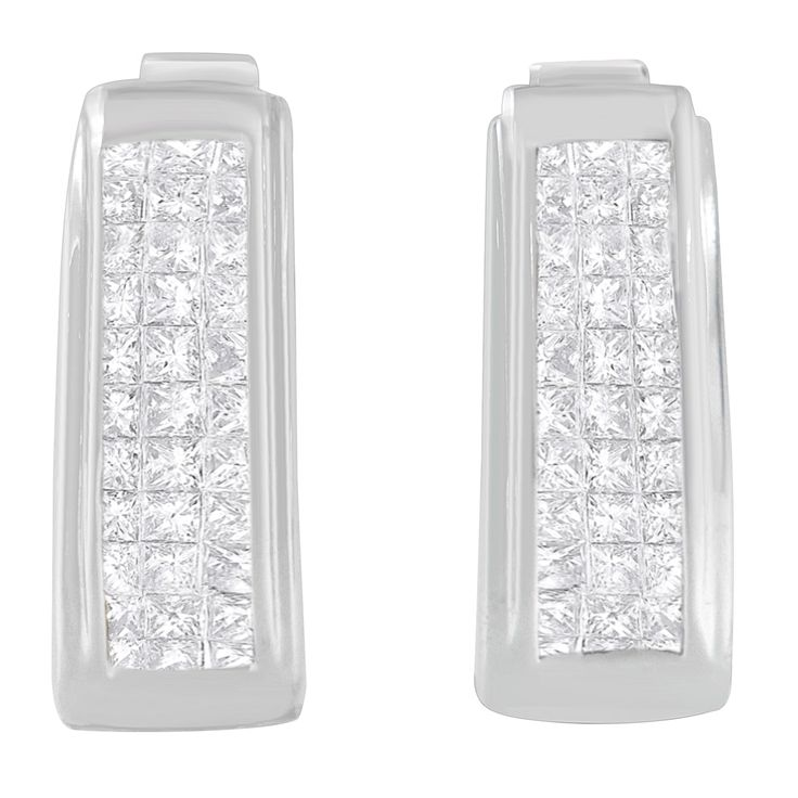 14KT Gold .05 ct.TDW Princess Cut Diamond Earrings
