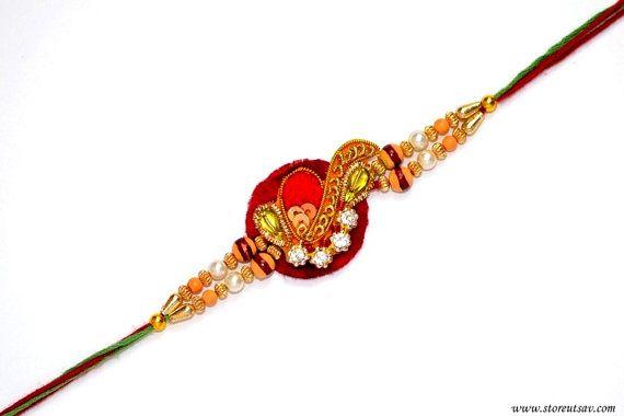 385b7f4f5c0a6c6d2649c57c5771e36d rakhi india - Rakhi Handmade Maroon Paisley Sibling Bands Zircon pearls work Rakshabandhan wri...