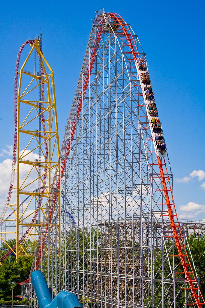 Great photo of Magnum XL-200's first drop, Cedar Point, Ohio - Magnum was the first coaster to top 200 feet
