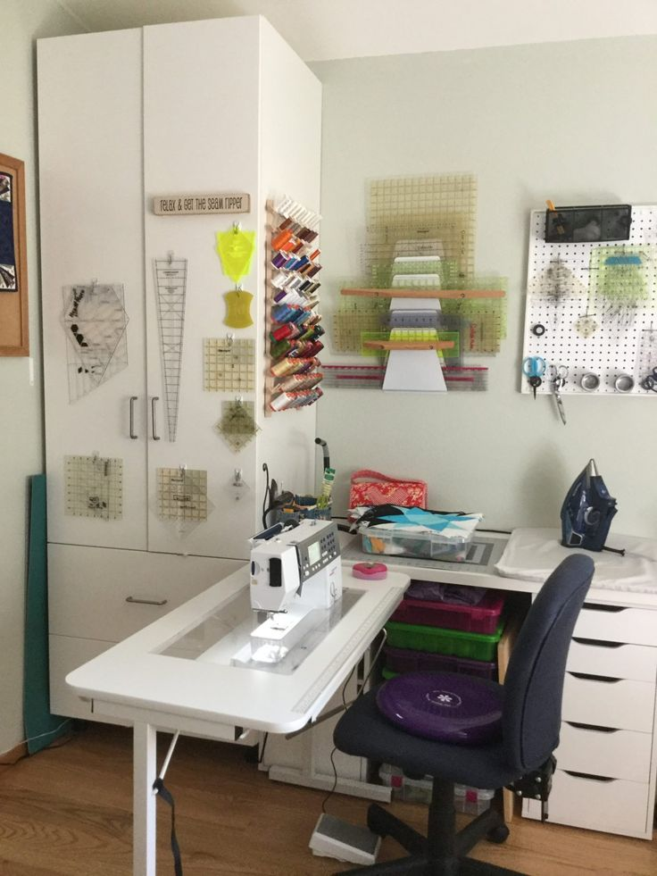 Look at all of this amazing ruler storage in this sewing room shared at our WeAllSew Community from adroege!