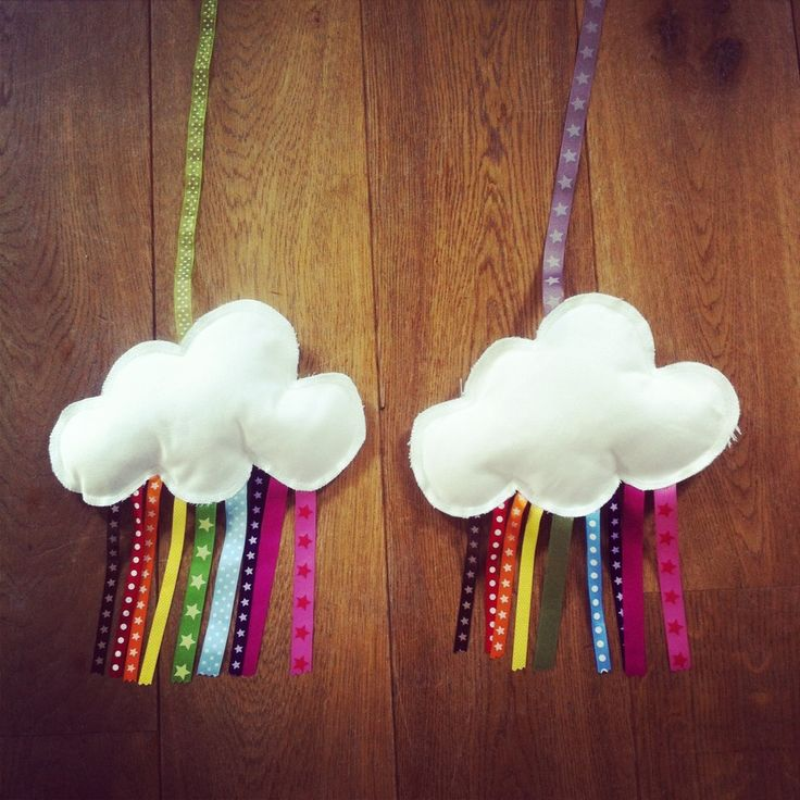 Un nuage blanc bien dodu apporte l'arc-en-ciel dans la chambre de votre enfant, dans votre bureau ou atelier avec ses jolis rubans colorés.Ceci est un objet de décoration uniquement, car il contient de petites pièces susceptibles d'être ingérées. Les rubans peuvent légèrement différer de ceux sur la photographie.