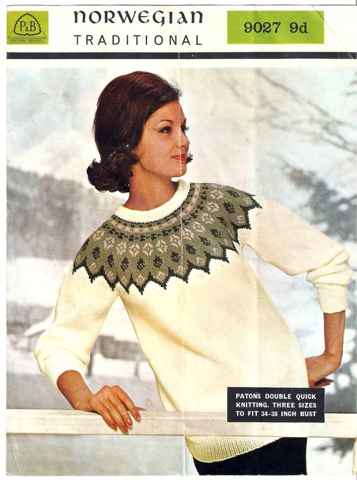 Image of Norwegian Fair Isle Sweater Vintage 1960's Knitting ...