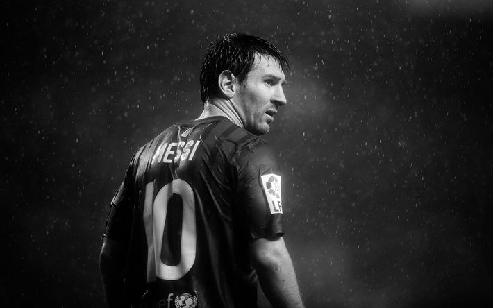 Download wallpapers Leo Messi, monochrome, rain, FC Barcelona, La Liga, Barca, Lionel Messi, Barcelona, football stars, Messi