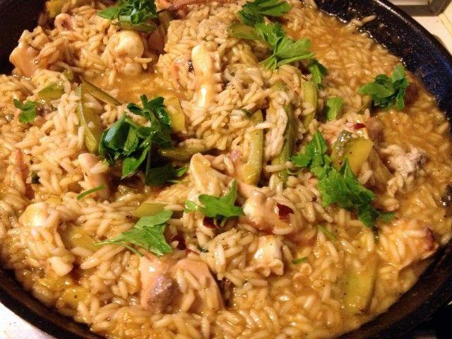 La ricetta del risotto estivo con moscardini e zucchine