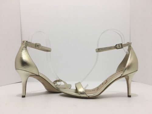 01baeb9ebc43 Sam Edelman Patti Light Gold Leather Women s High Heels Sandals Size 6.5 M Sam  Edelman Patti