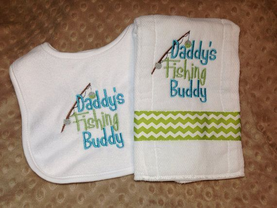 Burp Cloth Embroidered  and Appliqued Fishing Bobber with Monogram Burp Cloth for Boys or Girls