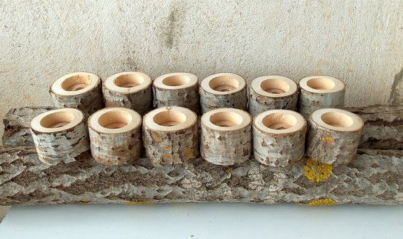 Set of 12  Tree Branch Candle Holders     Wood Candle
