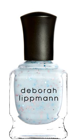 """Deborah Lippmann nail polish in """"Glitter in the Air"""" I love the sky blue hue, and the flecks of glitter just complete this polish!"""