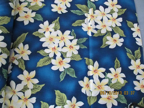 NOW 30 YARDS in stock!!! Marianne of Maui Hawaiian Quilting Fabric, fabric that goes round the world to happy buyers!!Back by popular demand clusters of plumeria on a deep royal blue background! Cotton 44 inches wide, $6.85/and shipping of $6.50 Paypal puts it in the next mail! YOU