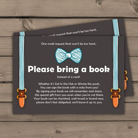 Baby shower Bring a book card Little man Baby by Anietillustration