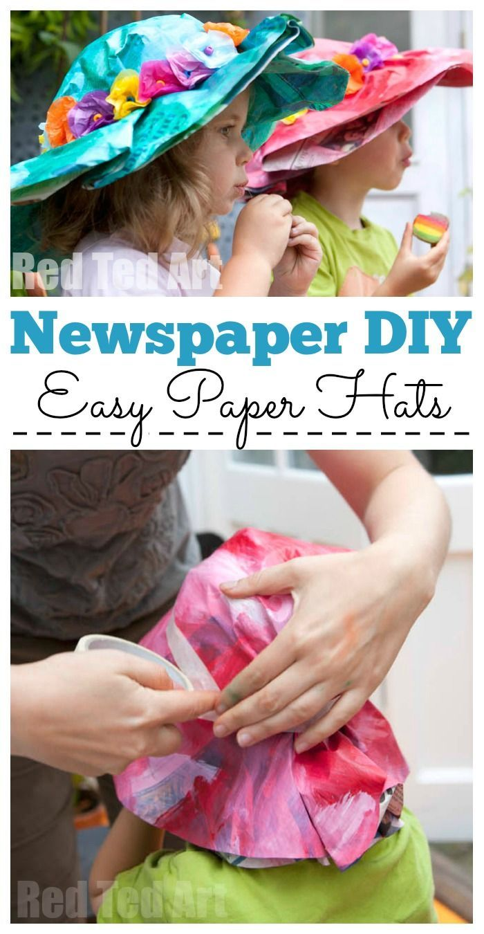 Easy Newspaper Hat Craft - these Paper Hats are quick and easy to make. Perfect Paper Hats for the Easter Bonnet Competition or Easter Bonnet Parade. Or make them on Dress Up Day! #paperhat #bonnet #paperbonnet #newspapers #easter #easterbonnets