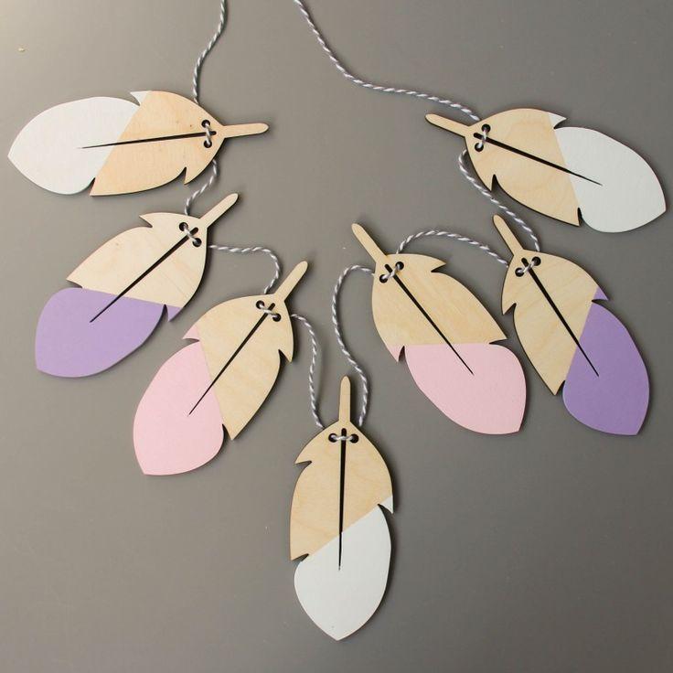 Гирлянды из деревянных перьев купить в vamvigvam