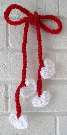 crochet hearts hair tie