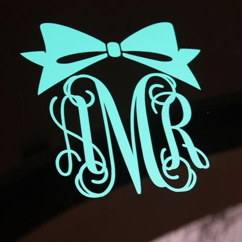 Bow monogram decal for your car or anywhere from monogram lane