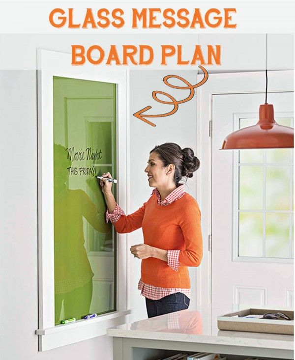 Use glass for a perfect dry erase message board, and customize it with paint! Free DIY plans on Remodelaholic.com