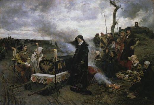"""Juana """"La loca"""" Francisco Pradilla 1877. La reina Juana I de Castilla junto al féretro de su marido Felipe """"el hermoso"""""""