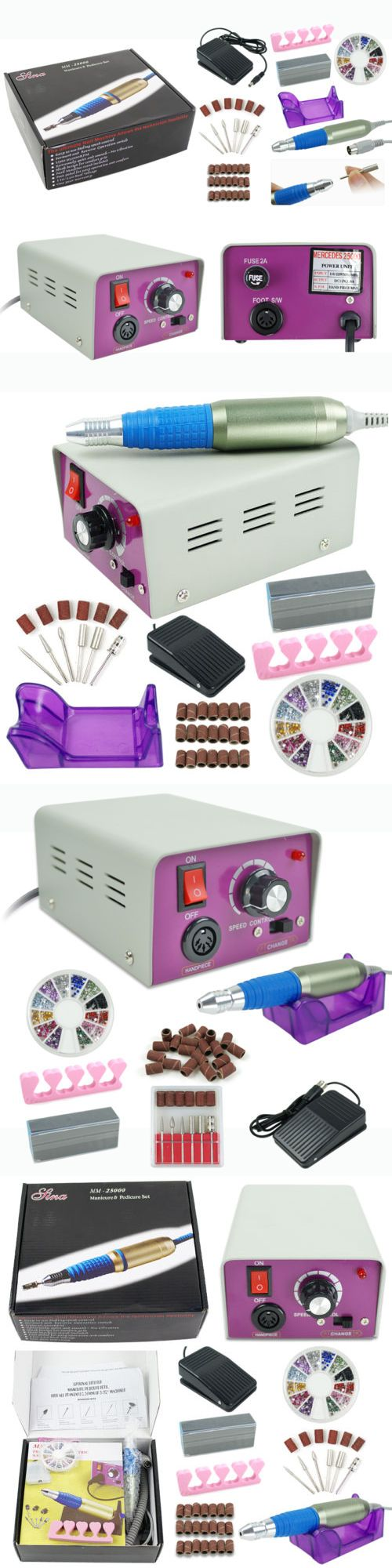 Manicure Pedicure Tools and Kits: Pro Purple Acrylic Electric Nail Drill File Buffer Bit Manicure Pedicure Kit Set BUY IT NOW ONLY: $31.55
