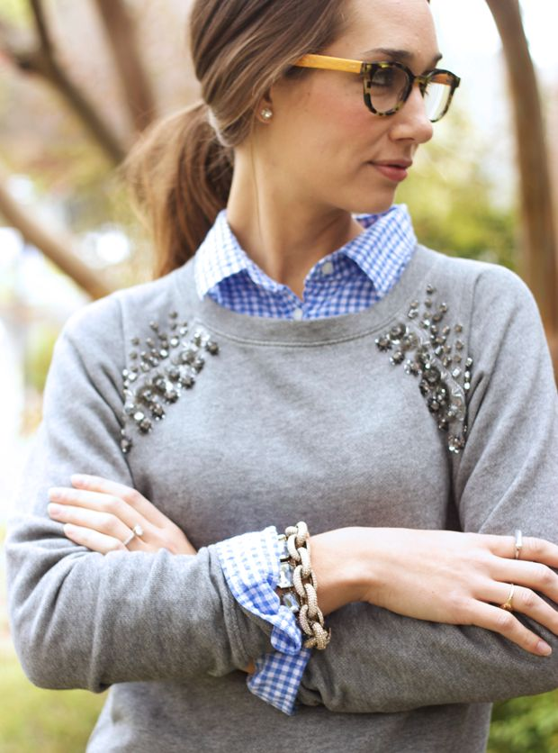The fox and she cabernet cords, jeweled sweater, gingham shirt, eyebobs glasses, blair culwell, the fox and she