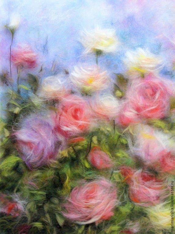 Картина из шерсти Эдем - розовый,картина из шерсти,живопись шерстью,картина в подарок