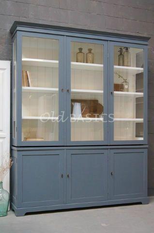 Kasten - Unieke oude brocante kasten en kasten op maat gemaakt zoals vitrinekasten boekenkasten dressoirs linnenkasten buffetkasten winkelkasten - Old-BASICS - Webwinkel
