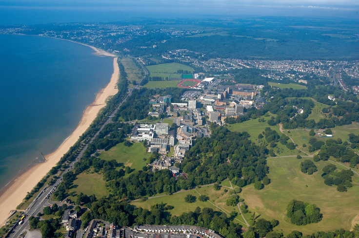 Campus from the air, looking south along Swansea Bay to Mumbles