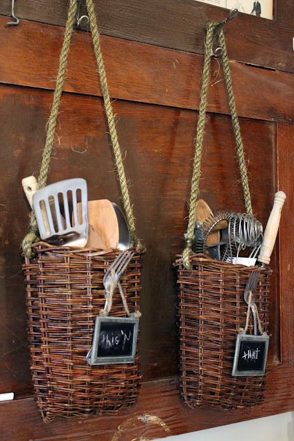 This Is Cool If You Lack Drawer Space Or Counter Space A Cool Way To Kitchen Basketsrustic Basketswoven