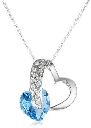 "10k White Gold Heart Blue Topaz Diamond Pendant Necklace (1/10 cttw, I-J Color, I2-3 Clarity), 18"":"